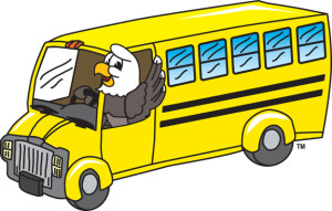 Clip art illustration of Cartoon Bald Eagle driving School Bus is available in a clipart set. Image is an ideal school mascot, team mascot, sport mascot, or brand mascot for promoting anything to do with an eagle, patriotism, and America.