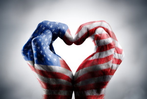 Love And Patriotism Symbols  Usa Flag Written On Hands